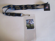 L.A. RAMS BLUE LANYARD WITH TICKET HOLDER & COLLECTABLE PLAYER CARD