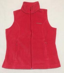 Columbia Womens Medium Full Zip Pink Fleece Vest Soft Cozy Fitted
