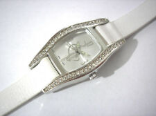 Silver Tone Metal Case White Leather Band Baby Phat Ladies Watch Crystals # 5446