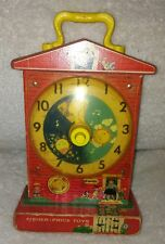 VTG FISHER PRICE Music Box TEACHING CLOCK #998 School Toy RED WIND UP USED OLD