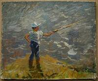 Russian Ukrainian Soviet Oil Painting Impressionism child youth fisher figure