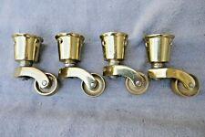 More details for vintage set 4 gilt brass cup furniture castors wheels chair table desk cabinet