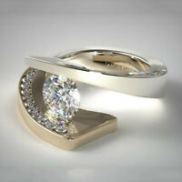 Luxury Men/'s 18K Gold Plated White Topaz Ring Evening Jewelry Size7-13 Muse Ms