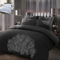 Chloe Luxury 100% Cotton Silver Embroidery Embroidered Duvet Cover Bedding Set