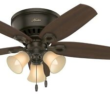 Hunter 42 inch Low Profile Traditional Ceiling Fan in New Bronze with 3 Lights