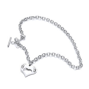 Swarovski Crystal Sterling Chain Necklace Silver Heart Toggle Floating Stones