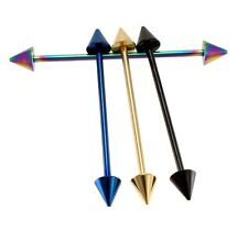 """Single 14g 1.5"""" Titanium Plated Industrial Spike/Cone Stainless Steel Bar Ear"""
