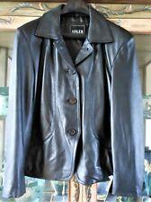Adler Collection NEW Lamb Skin Black Leather Lined Button Front Jacket Size M