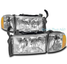 99 00 01 DODGE RAM 1500 SPORT PICKUP TRUCK HEADLIGHT W/CORNER TURN SIGNAL CHROME