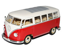 VW Volkswagen T1 Rot Weiss Samba Bully Bus 1950-1967 1/24 Welly Modell Auto mi..