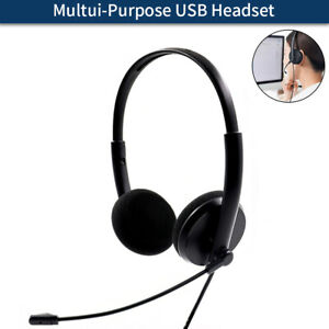 USB Headset Headphones Wired with Microphone MIC for Call PC Computer Laptop AU