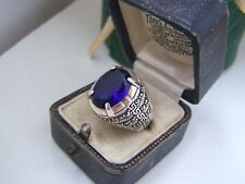 GORGEOUS SOLID STERLING SILVER FAUX SAPPHIRE & MARCASITE SIGNET RING SIZE T 9.5