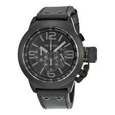 TW Steel Cool Chronograph Black Dial Black Leather Mens Watch TW843R