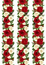 A4 Edible Decor Icing Sheet Christmas Red Rose Ribbon Border for larger cakes