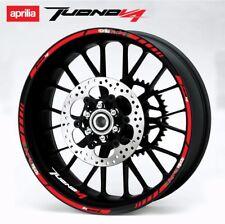 Aprilia Racing Tuono V4 wheel decals stickers set rim stripes v4r Laminated red
