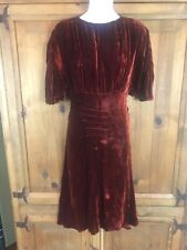 Vintage 1930s / 1940s Velvet Dress Deep Brunt Orange Gathered sleeves