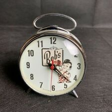 VTG Big Boy Bobby Bob's Wind Up Table Clock Collectible Retro Collection White