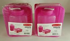 2 Rubbermaid Snack Pack Sandwich Containers With 8.5oz Sip Water Bottle Pink