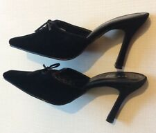 New Look Uk6 Eu38 Black Faux Suede Closed Toe Mules With Bow Detail Party Wear
