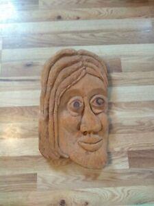 Handmade Wood Carved Folk Art Man's Face 18 In
