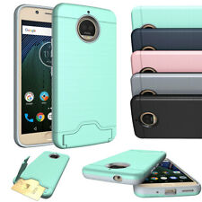 For Motorola Moto G5s Plus / G4 Plus Case Credit Card Holder Armor Stand Cover