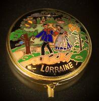 Jolie boîte à pilules ( pilulier, bijoux..) laiton émaillée cloisonnée - vintage