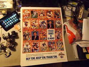 "1989 PRO SET NFL CARDS SERIES II PROMOTIONAL POSTER 16 X 21"" B SANDERS & AIKMAN"