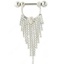 2 Pcs Surgical Steel Tassels Nipple Rings Shields Body Piercing Jewelry