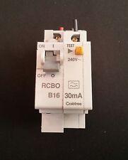 CRABTREE STARBREAKER 16A 30mA RCBO 240v 6kA  Type B  61/B1630   * Fully Tested *