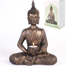 Large Thai Sitting Buddha Tealight Holder Bronze Figurine Home Gift Ornament
