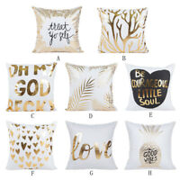 Gold Foil Printed Polyester Pillow Case Sofa Throw Cushion Cover Home Decor