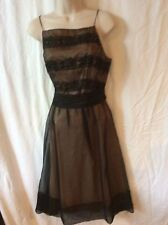 Laundry Cocktail/evening dress, black lace overlay neutral, spaghetti straps, 8