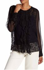 NWT 4 Love Liberty By Johnny Was Wallflower Ruffled Front Sheer Silk Blouse L