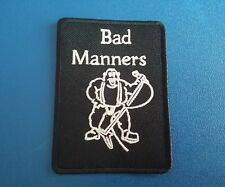 PUNK ROCK HEAVY METAL MUSIC SEW / IRON ON PATCH:- BAD MANNERS BUSTER BLOODVESSEL