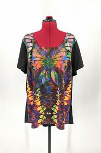 CITY CHIC Black/ Multicolour Short Sleeve Hi Low Hem Casual Top Size M VGC