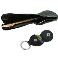 Electric Guitar Bass Gig Bag Soft Black & Picks Holder Bag Keychain + 6 Picks