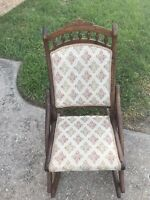 Antique Victorian Wood Folding Rocking Chair Floral tapestry L