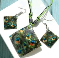 Shell Pendant Necklace Earring Set Multi Layer Leather Chain Peacock Print