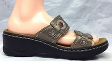 Clarks Size 9 M US Women's Pewter Leather Slides Sandals Shoes