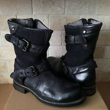 UGG COLLECTION NIGEL BLACK LEATHER SHEEPSKIN LINED BUCKLE BOOTS US 10 MENS