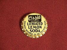 Rare Vintage Bottle Cap Ossie Beverages Lithiated Lemon Soda Ossineke Michigan