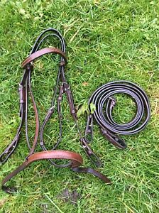 Small Brown Pony Bridle And Reins , Fits A 12 Hand Pony, In Good Used Condition