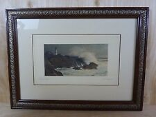 Antique FRED THOMPSON PORTLAND HEAD Hand Signed Framed Decorative Artwork Maine