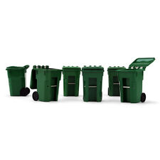 2017 FIRST GEAR 1:34 *SET of 6* GREEN COLORED Trash Garbage Can Containers *NIB*