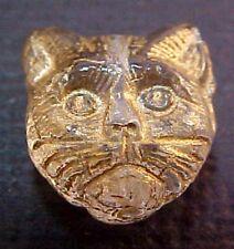 Vtg 25 GOLD ACCENT CLEAR GLASS CAT HEADS GLASS BEADS MEOW! 13mm CZECH #030612z