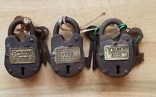 3 Locks Folsom Prison Pony Express & Yuma Prison Cast Iron Locks With 2 Keys