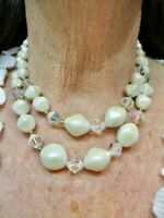 Vintage 1950's Faux Pearl & Crystal Bead Double Strand Necklace