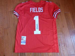 Justin Fields Signed Ohio State Custom Game Cut Jersey Size XL JSA