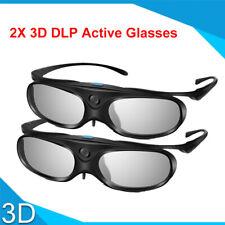 2pcs 3D Glasses Active Shutter DLP Link 96-144HZ +Bag For Optoma BenQ Acer HD TV