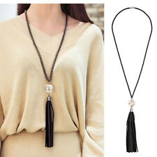 Fashion Leather Tassels Pearl Charm Beads Pendant Long Chain Necklace Jewelry